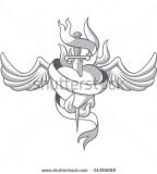 Scared Heart With Dagger And Wing Tattoo Stock Vector