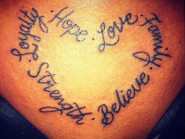 Heart Shaped Tattoos With Words Lettering tattoos / heart