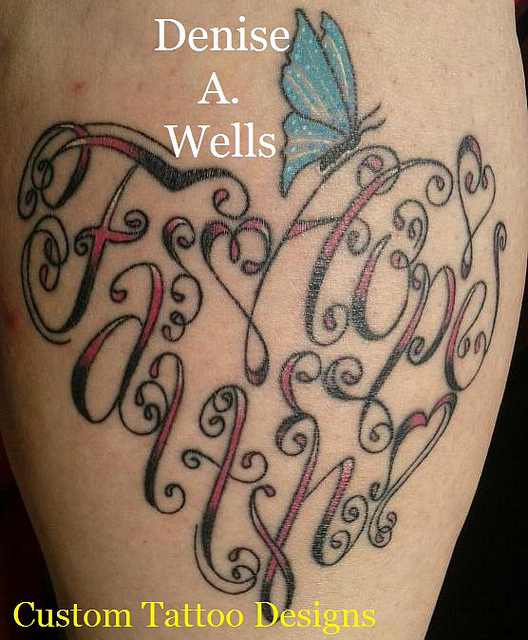 Heart Shaped Tattoos With Words Into a heart shaped tattoo