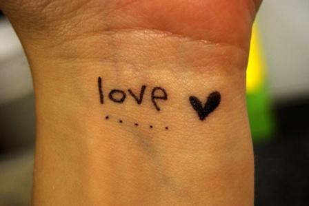 Simple Love Tattoo On Palm