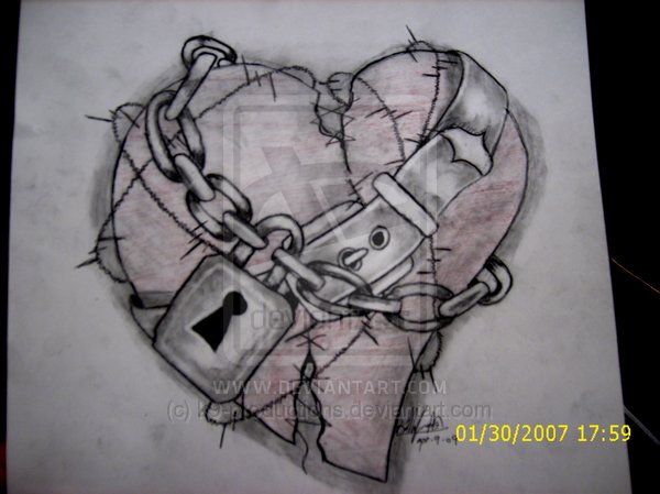 Chain Wrapped Heart Tattoo Sketch By K9productions