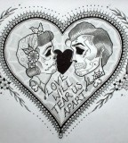 Heart and Skull Tattoo Sketch