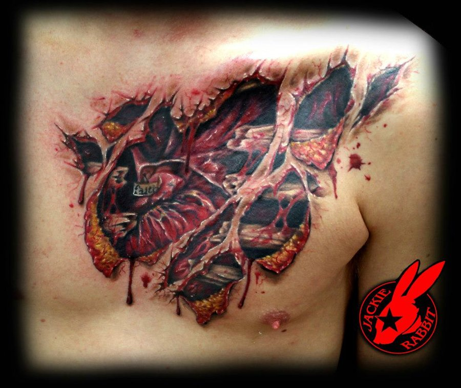 Heart Lock Chest Tattoos For Women