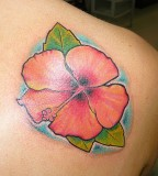 Simple Hibiscus Flower Tattoo For Girls