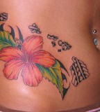 Sexy Belly Hibiscus Flower Tattoos Meaning Women