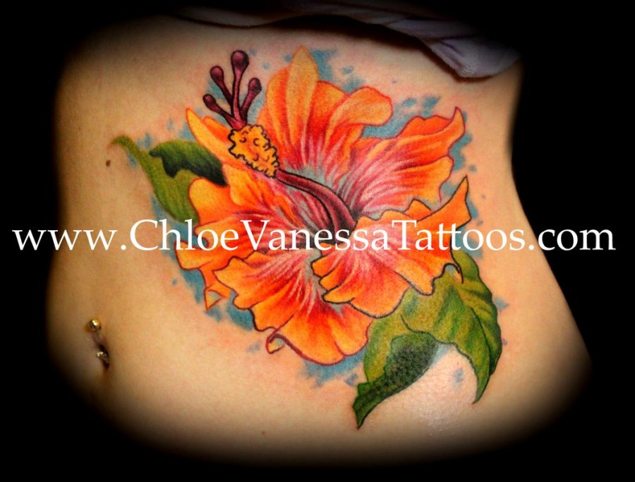 Chinese Orange Hibiscus Flower Tattoo For Girl