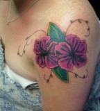 Purple Hibiscus Tattoo On Shoulder