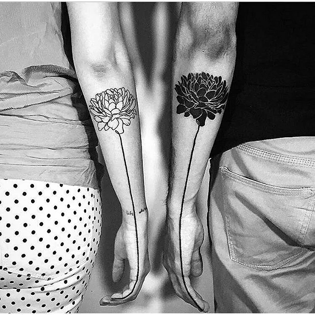 his and hers flower couple tattoo