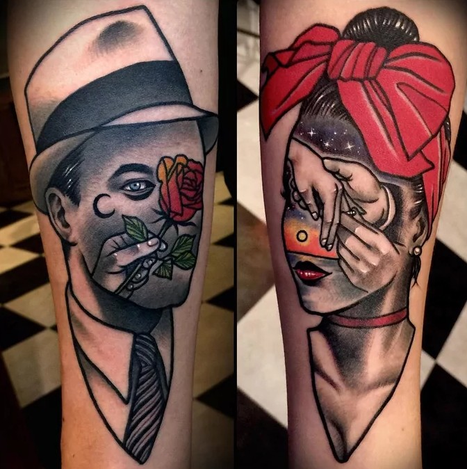 his and hers surreal portrait couple tattoo