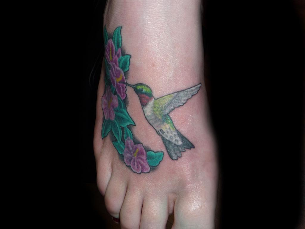 Hummingbird Tattoo Design In Foot Tattoomagz