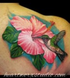 Colorful Hummingbird and Flower Tattoo Design on Shoulder