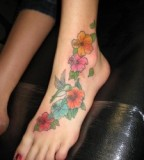 Hummingbird Flower Foot Tattoo Design for Women