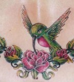 Hummingbird and Flower Tattoo Design on Upper Back