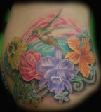 Hummingbird Flower Tattoos Design on Abdomen