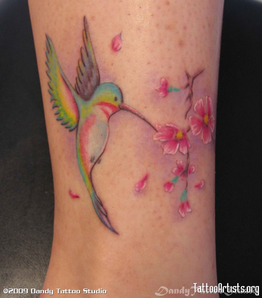 Colorful Hummingbird And Sakura Tattoo Design Tattoomagz