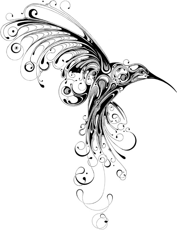 Big Black Hummingbird Tattoo Sketch