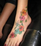 Hot Humming Bird Tattoo Design On Girl Foot