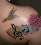 Musical Chord Humming Bird Tattoo Designs