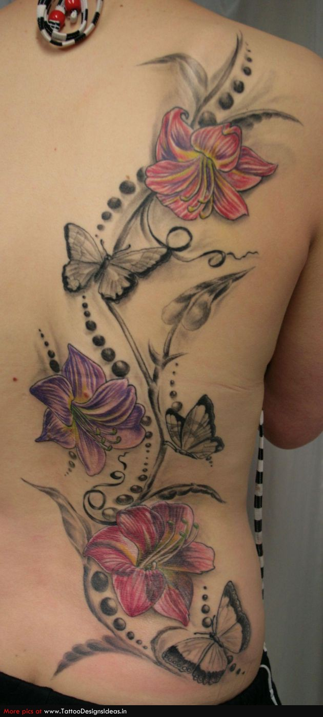 Lily Back Flower Tattoo: Lily Flowers Tatto Design On Back