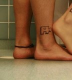 Sexy Couples Puzzle Tattoos On Leg