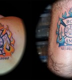 Cool Couple Tattoo Orange And Blue Color