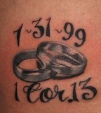Matching Tattoos On A Husband And Wife Wifes Hip Photos