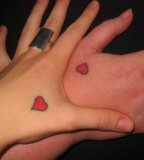 Small Red Love Matching Tattoos For Couples
