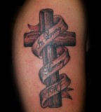 In Loving Memory Custom Drawn Crosses Tattoo Design