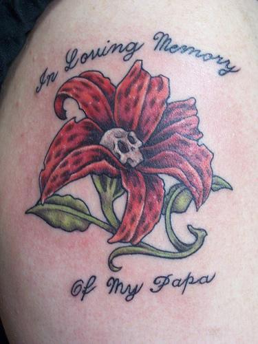 in loving memory of my papa memorial rose tattoo design picture