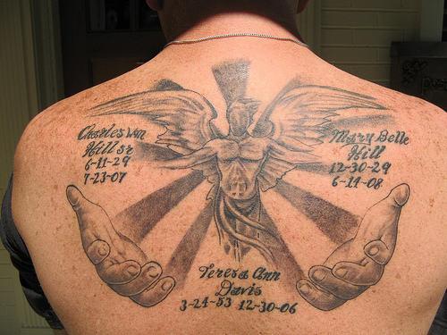 Full memorial angel in loving memory tattoo on back for Angel tattoos in memory of