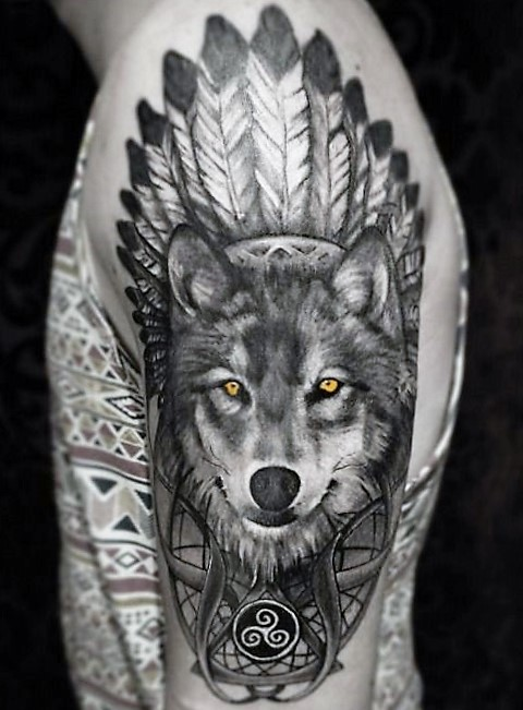 indian-wolf-tattoo