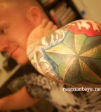Paintful Star Tattoo Design on Elbow