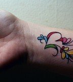 Colorful Inner Wrist  Tattoo Picture