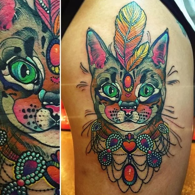 kitty trippy tattoo