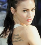 Sexy Megan Fox with Back Tattoos