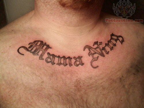 Simple lettering tattoo on chest for men tattoomagz for Simple chest tattoos for guys
