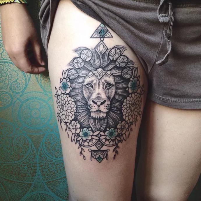 lion on leg tattoos for women