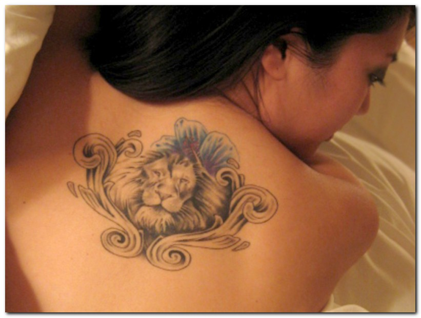 Swirly Flowers and Lions Tattoo Design for Women