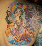 Chinese Goddess and Mythical Dragon Tattoos Design Ideas