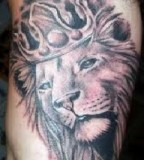 Shoulder Tattoos Lion King with Crown - Animal Tattoos