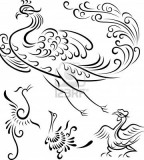 Tribal Peacock / Phoenix Bird Outline Tattoos - Bird Tattoos