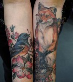 Wildlife Tattoos of Fox and Birds - Wildlife Tattoos Designs