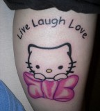 Live Laugh Love Kitty Tattoo On Leg