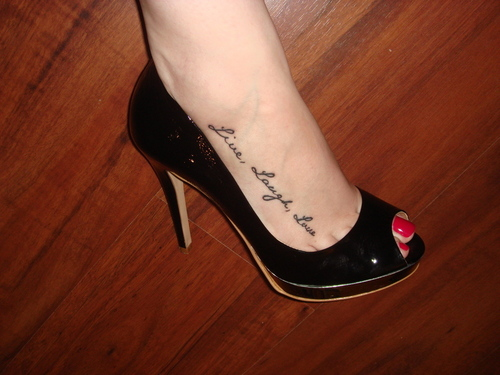 Live Laugh Love Right Foot Tattoo