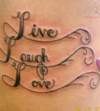 Live Laugh Love Tattoo Design On Back