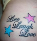 Live Laugh Love Tattoo On Lower Back