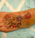 Live Laugh Love and Red Flowers on Foot