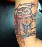 Owl Lock and Key Tattoo