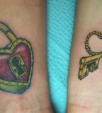 Heart Lock And Key Tattoos For Couples