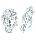 Remarkable Lock and Key Tattoo Sketch for Couples